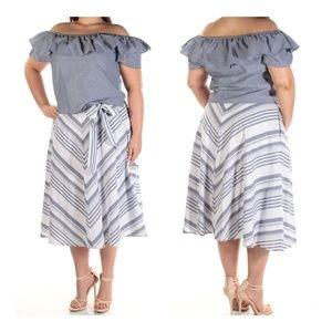 NEW - Jessica Howard 2piece OTS top midi skirt set